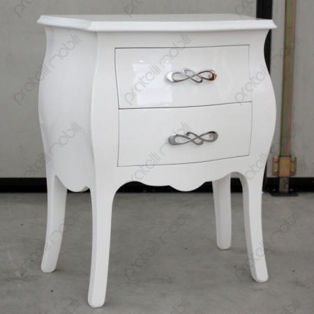 Comodino Bombato Bianco Lucido con Maniglia art. 4 Cromata
