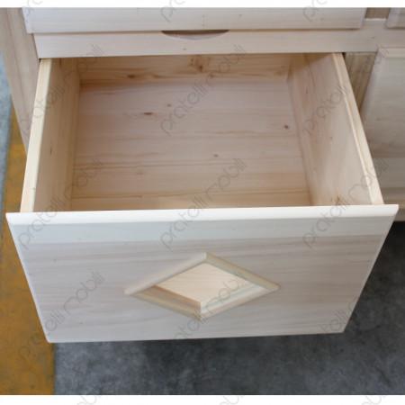 Cassetto grezzo in legno massello