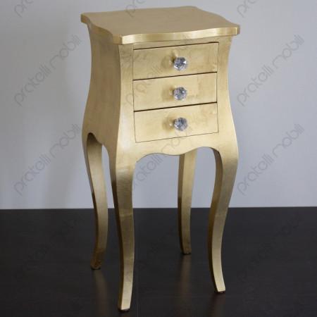 Comodino Francesino Foglia Oro Invecchiato con Pomelli art. 17