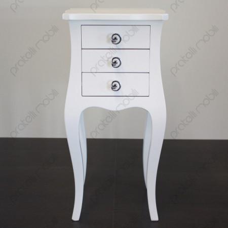 Comodino Bianco Opaco con Pomelli art. 11 Cromati
