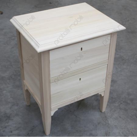 Comodino Contadino in legno grezzo da verniciare.