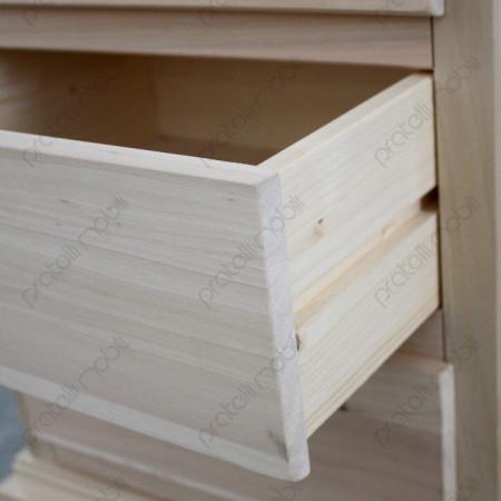 Cassetti  su linee guida in legno.