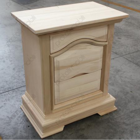 Comodino Vittorio in legno grezzo da verniciare.