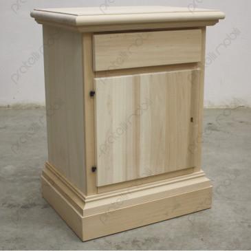 Comodino Pericle in legno grezzo da verniciare.