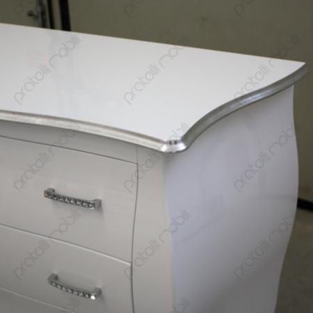 Bianco Lucido con Bordo Foglia Argento e Maniglie Swarovski