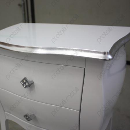 Bianco Lucido con Bordo del Top in Foglia Argento e Pomelli Swarovski art. 8