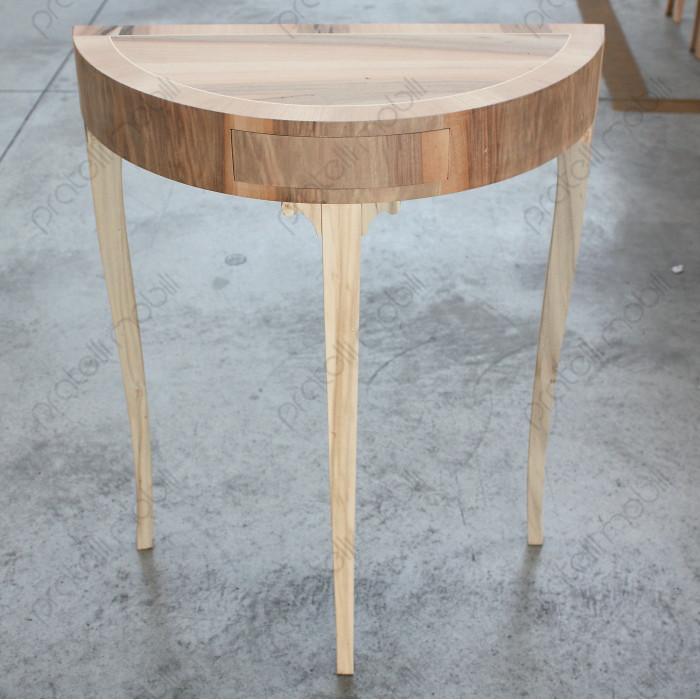 Consolle Mezzaluna in legno grezzo