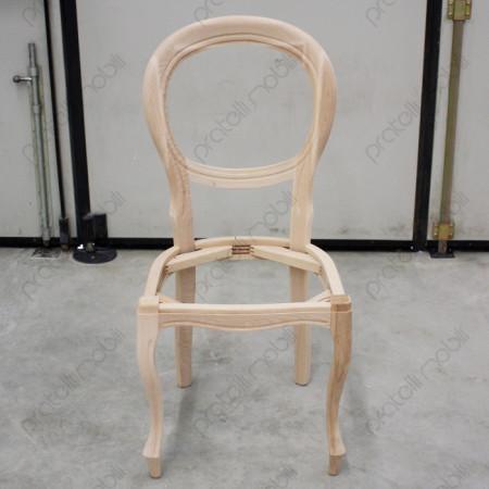 Sedia grezza con schienale ovale