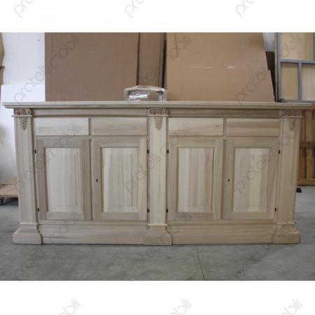 Credenza Grezza 4 Ante e 4 cassetti in legno