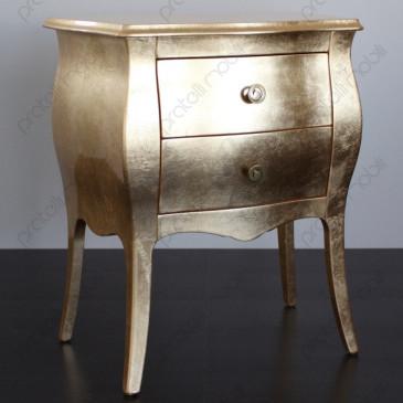 Comodino Bombato Foglia Oro con Pomelli art. 7 Oro Invecchiato