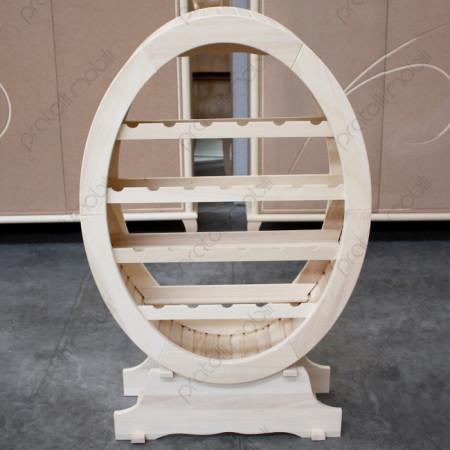 Mobile porta bottiglie in legno grezzo a botte