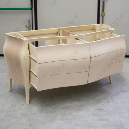 Mobile bagno grezzo con 6 cassetti scorrevoli su guide in legno