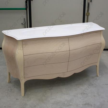 Mobile bagno bombato con piano in marmo grezzo da verniciare