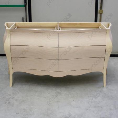 Mobile composto da 6 cassetti e 2 lavabi con piano in marmo bianco