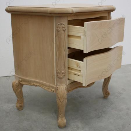 Comodino con 2 cassetti scorrevoli su guide in legno