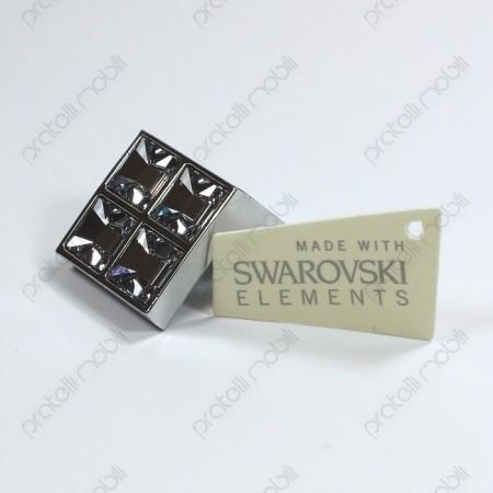Pomello con tagliando Swarovski cromato argento