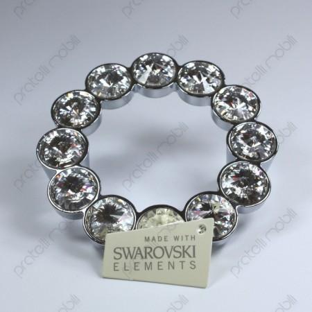 Maniglia rotonda cromata argento con brillanti Swarovski