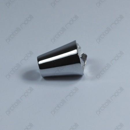 Pomello color argento con strass Swarovski