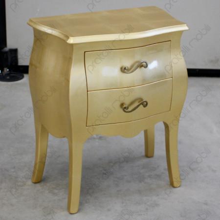 Comodino Bombato Oro con Maniglie art. 6 Oro Invecchiato