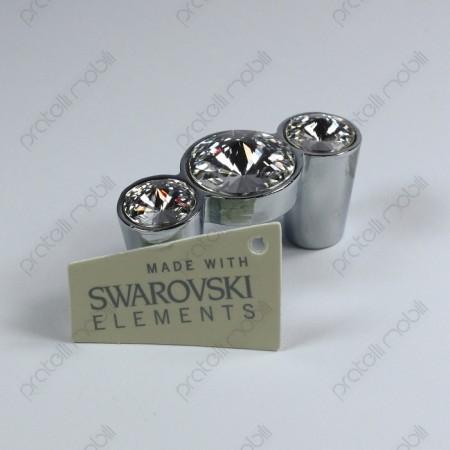 Maniglia color argento con 3 strass Swarovski
