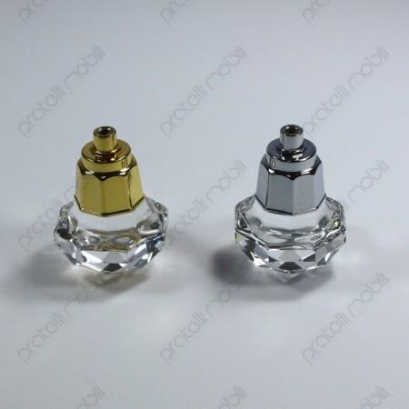 Pomelli argento e oro con cristallo per mobili