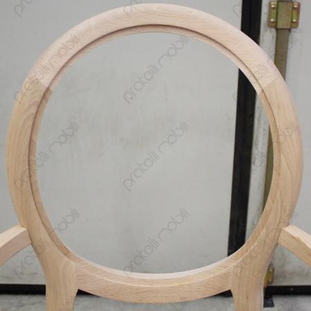 Schienale ovale in legno grezzo