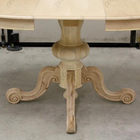 Tavolo grezzo centrale con colonna tornita