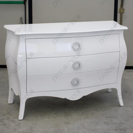 Comò Bombato Grande Bianco con Maniglia Swarovski rotonda art. 15 Linea Luxury