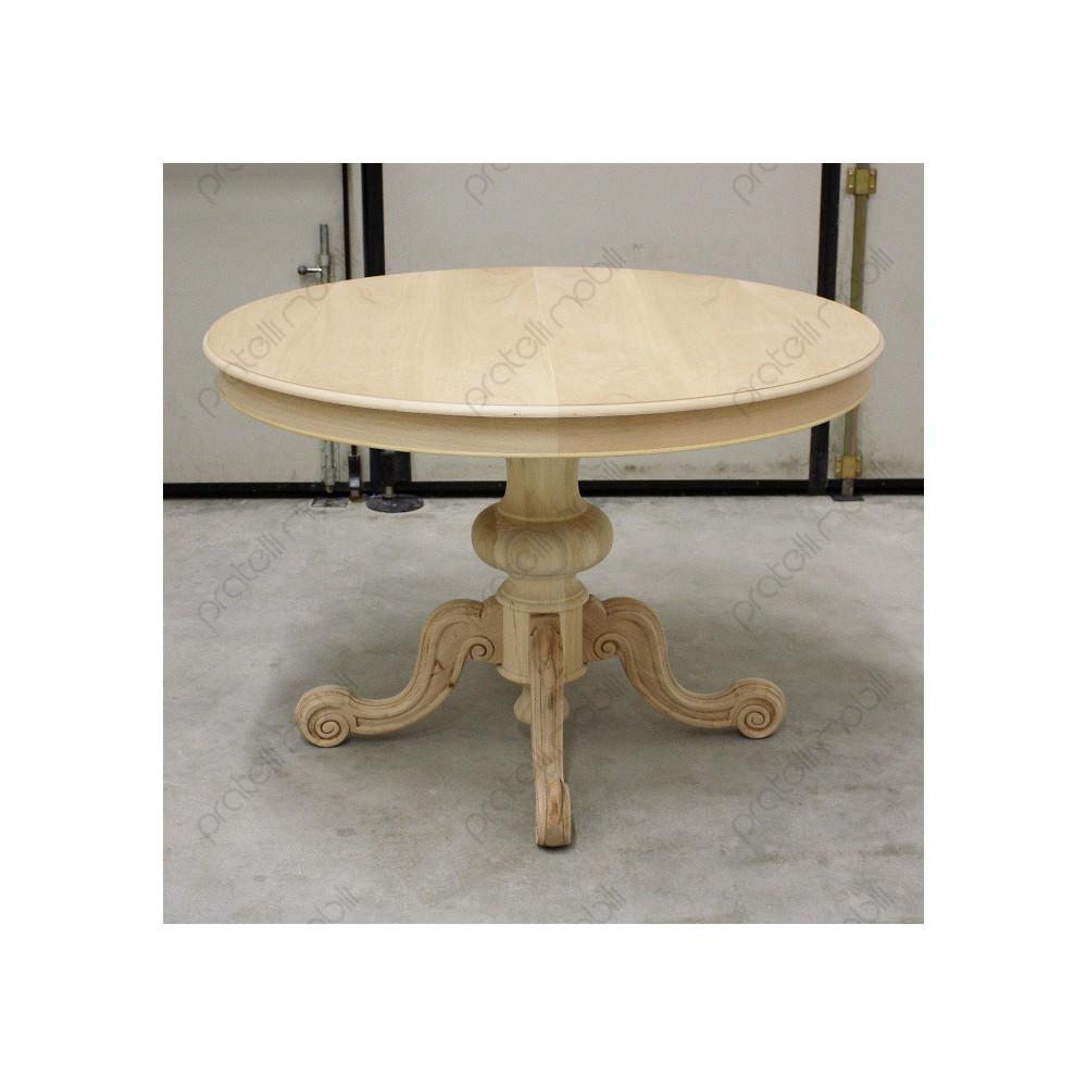 Tavolo Con Gamba Centrale tavolo rotondo grezzo allungabile con gamba centrale