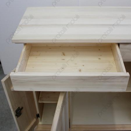 Credenza Grezza con cassetti in legno