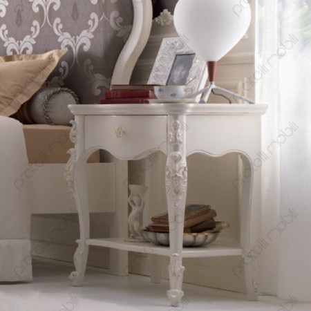Esempio di Comodino Barocco Verniciato Bianco
