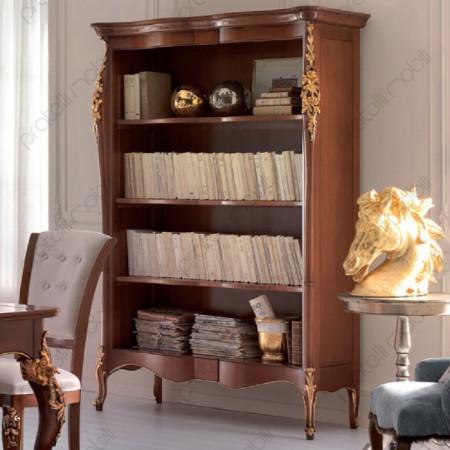 Esempio di Libreria Barocca Verniciata Noce con Oro