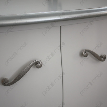 Bianco con Foglia Argento e Maniglie art. 5 Argento Graffiato