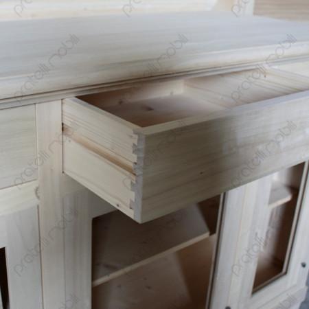 Credenza grezza con cassetti in legno massello
