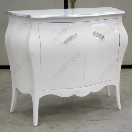 Credenza Bombata Bianco Lucido con Bordo Foglia Argento e Maniglie Swarovski art. 15