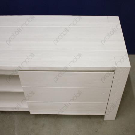 Mobile Porta TV Moderno 2 Ante in Abete Massello Spazzolato Bianco