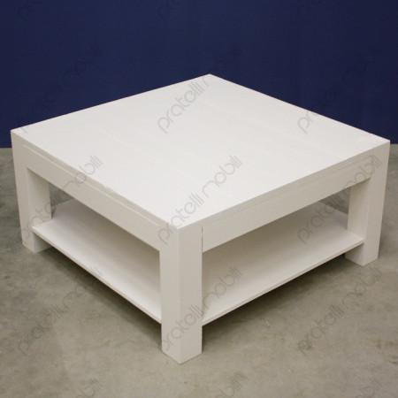 Tavolino Moderno Quadrato in Abete Massello Spazzolato Bianco