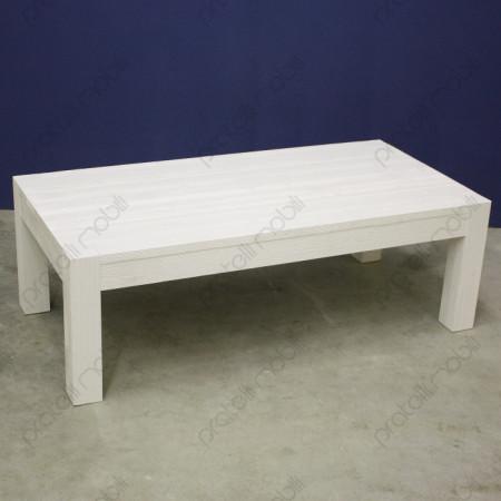 Tavolino Moderno Rettangolare in Abete Massello Spazzolato Bianco