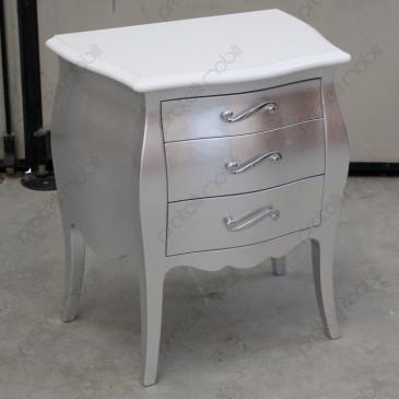 Comodino Bombato 3 c. Foglia Argento con Top Bianco Lucido e Maniglie art. 5 Cromate