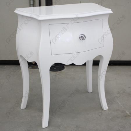 Comodino Bombato Bianco Lucido con Pomello art. 11 Cromato