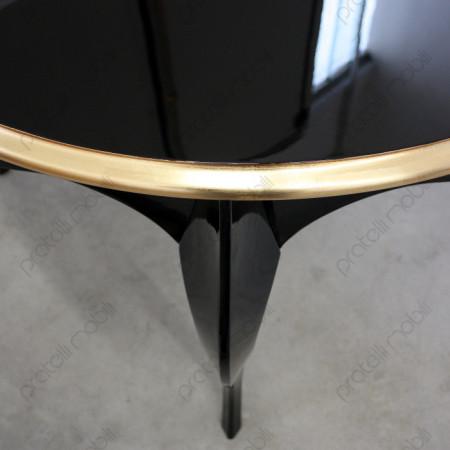 Tavolo Nero Lucido con Bordo Oro