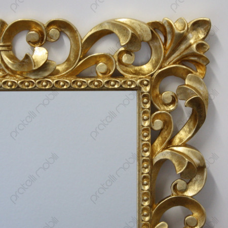 Specchiera Barocco in Legno Massello Finitura Foglia Oro