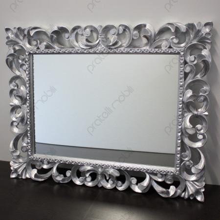 Specchiera Barocco in Legno Massello Finitura Foglia Argento