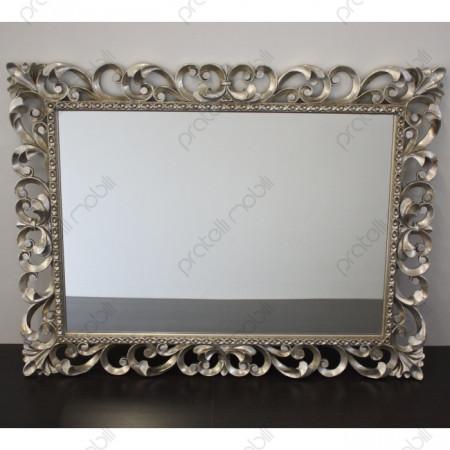 Specchiera Barocco in Legno Massello Finitura Argento Invecchiato