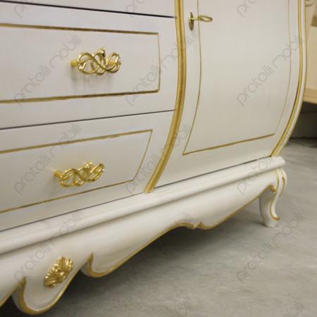 Credenza Bombata Bianco Anticato e Foglia Oro