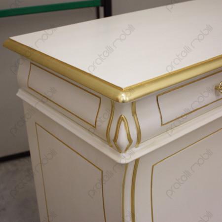 Credenza Curva Bianca con Foglia Oro