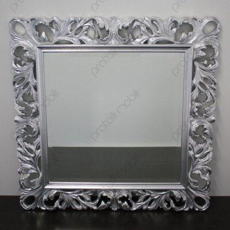 Specchiera Barocca 110 x 110 Foglia Argento