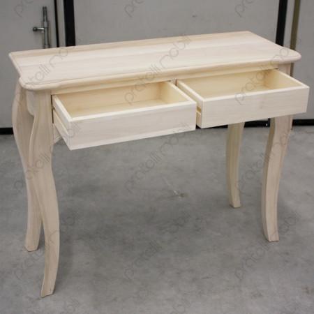 Consolle in legno grezzo a 2 cassetti
