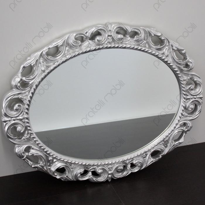 Specchiera Barocca Ovale in Foglia Argento