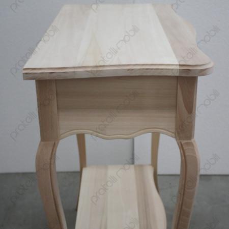 Consolle in legno grezzo vista laterale